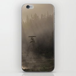misty morning on moose river iPhone Skin