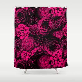 Moody Florals in Magenta Shower Curtain