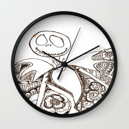 41. Jack in Halloween with Henna Background Wall Clock