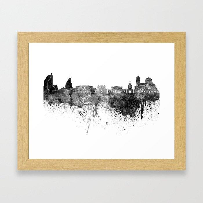 Sofia skyline in black watercolor on white background Framed Art Print