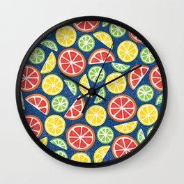 Vitamin C Super Boost - Citric Fruits on Blue Wall Clock