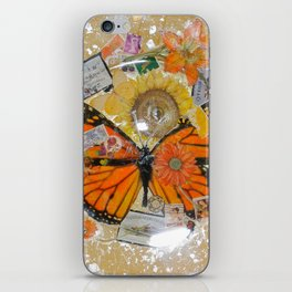 Butterfly-Sunflower plaque iPhone Skin