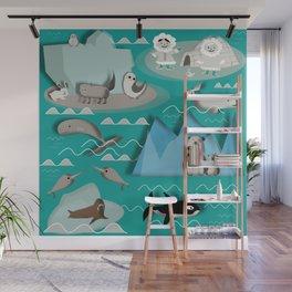 Arctic animals teal Wall Mural