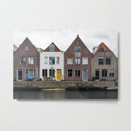 Row houses and Canal in The Netherlands Metal Print