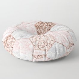 Rose gold dreaming - marble hexagons Floor Pillow