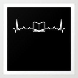 Book Lover Reading Fan Heartbeat Gift Art Print