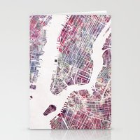 new york map Stationery Cards featuring new york map by MapMapMaps.Watercolors