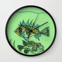 Foxface & Fugu Fish Wall Clock