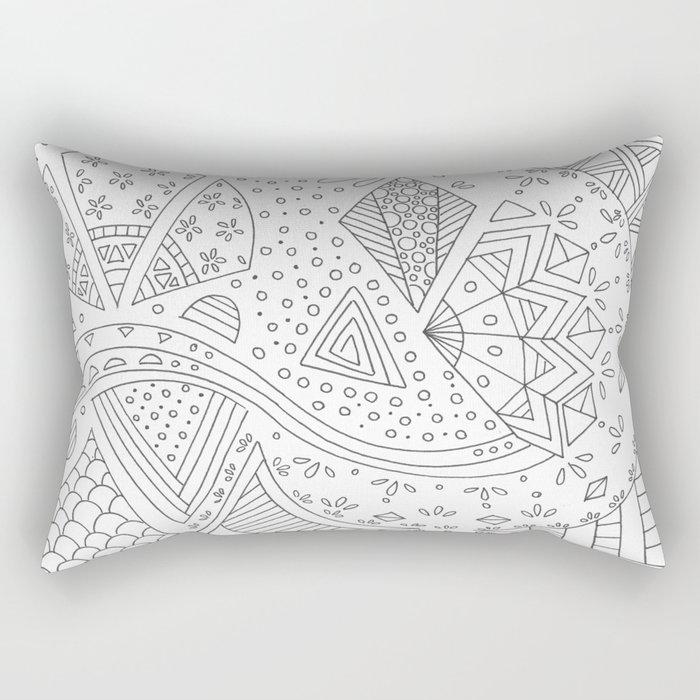 Doodling whites Rectangular Pillow