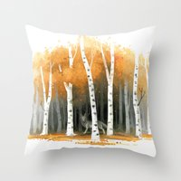 autumn Throw Pillows featuring Autumn Wolf by Freeminds