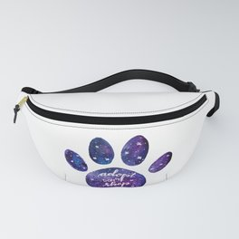Adopt don't shop galaxy paw - purple Fanny Pack