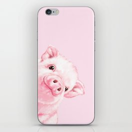 Sneaky Baby Pink Pig iPhone Skin