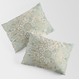 Mandala Flower, Teal and Gold, Floral Prints Pillow Sham
