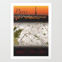 Paris Map Poster Print as a gift or to enhance your decor! Explore! Art Print