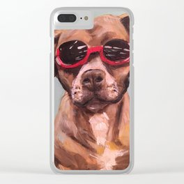 Doggles, the dog who wears goggles Clear iPhone Case