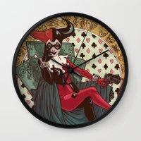 harley quinn Wall Clocks featuring Harley Quinn by LaurenceBaldetti