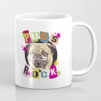 pugs Mugs featuring Pugs Rock by Graduate Collection