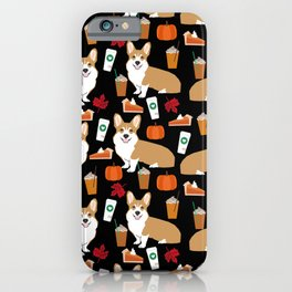 Corgi - Pumpkin Spice, psl, coffee, latte, pumpkin pie,  fall, autumn, holiday, iPhone Case