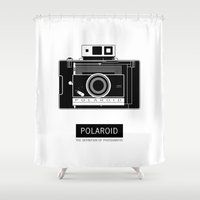 polaroid Shower Curtains featuring POLAROID by vetpan