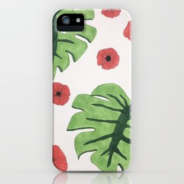 Poppies and monstera leaves iPhone Case