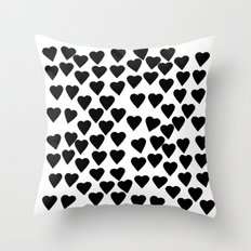 Hearts Black and White Throw Pillow