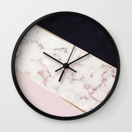 Rose Gold Blush Pink Black Color Block Marble Wall Clock