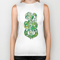 tiki Biker Tanks featuring TIKI  by Jun Arita