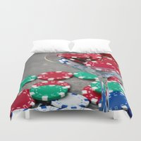 poker Duvet Covers featuring Poker night by smittykitty