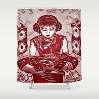 internet Shower Curtains featuring Internet Girl by Yukska