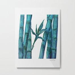 Bamboo Watercolor - Blue Palette Art Print Metal Print