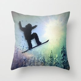 The Snowboarder: Air Throw Pillow