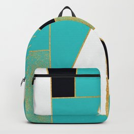 Turquoise, black and gold shapes Backpack
