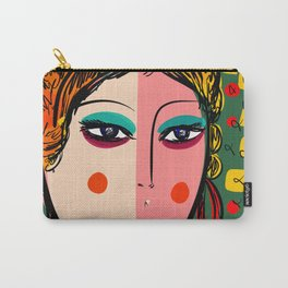 Green Portrait French Girl Art Carry-All Pouch