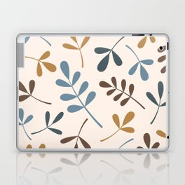 Assorted Leaf Silhouettes Blues Brown Gold Cream Laptop & iPad Skin