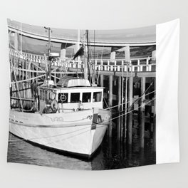 San Remo Boats Black and White Wall Tapestry