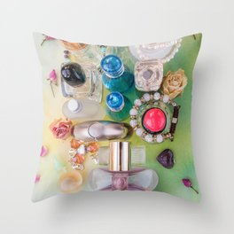 Collection of colorful perfume bottles  and jewelries Throw Pillow
