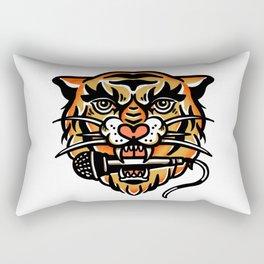 Tiger Biting A Microphone: Cool Music Illustration Rectangular Pillow