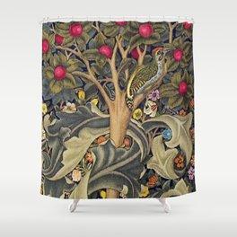 William Morris Woodpecker, Fruit Tree & Poppy Flower Garden Tapestry Textile Floral Print Shower Curtain