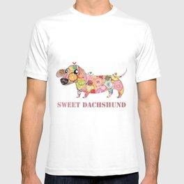 Sweet Dachshund, Watercolor Donut Pattern Illustration T-shirt