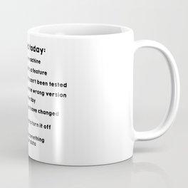 Excuses used today Coffee Mug