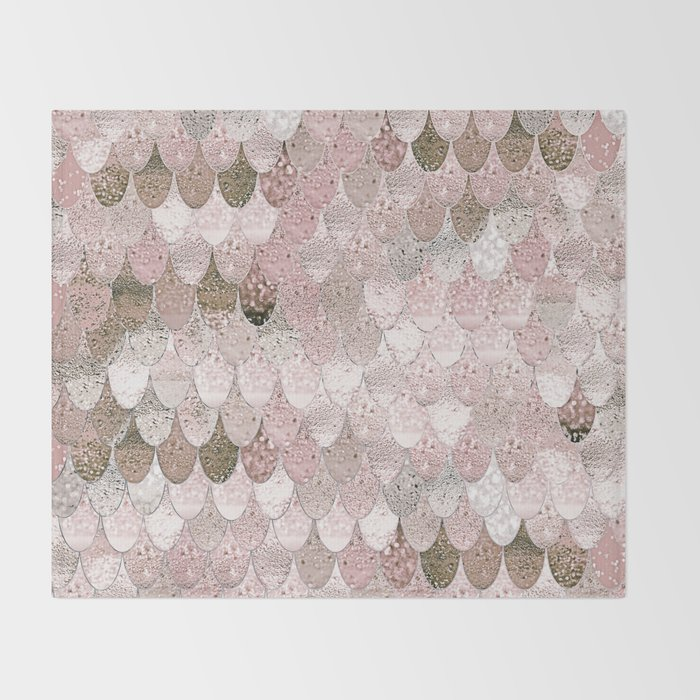 SUMMER MERMAID NUDE ROSEGOLD by Monika Strigel Throw Blanket