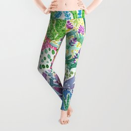 Tropical Garden Watercolor Leggings