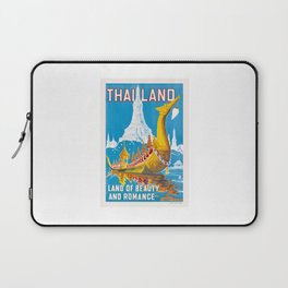 1950 Thailand Royal Barge Travel Poster Laptop Sleeve