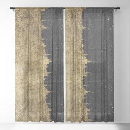 Faux Gold and Black Starry Night Brushstrokes Sheer Curtain