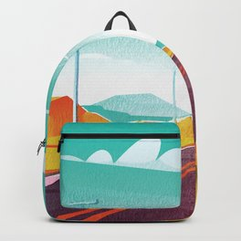 Life is a Highway Kitschy Vintage Retro Watercolor Mid Century Style Backpack