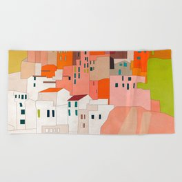 italy coast houses minimal abstract painting Beach Towel
