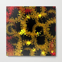 abstract glowing pattern of gears and spheres in red gold on a black background for fabrics o Metal Print
