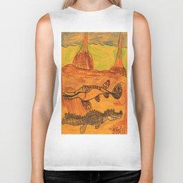 Painted Gar & Alligator Biker Tank
