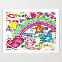 Care Bears Rainbow and Stars Art Print