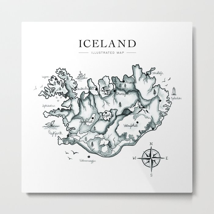 Illustrated Map of Iceland Metal Print by rosellastudio on poland map, mexico map, netherlands map, greece map, united kingdom map, cuba map, europe map, hungary map, scotland map, road map, germany map, japan map, india map, russia map, ireland map, italy map, keflavik airport map, spain map, scandinavia map, greenland map,